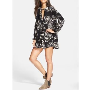 Free People Floral Tunic Top Sz S EUC